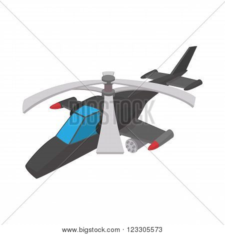 Military helicopter icon in cartoon style on a white background