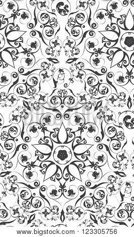 Hand Drawn Vintage Flourishes seamless pattern on white monochrome