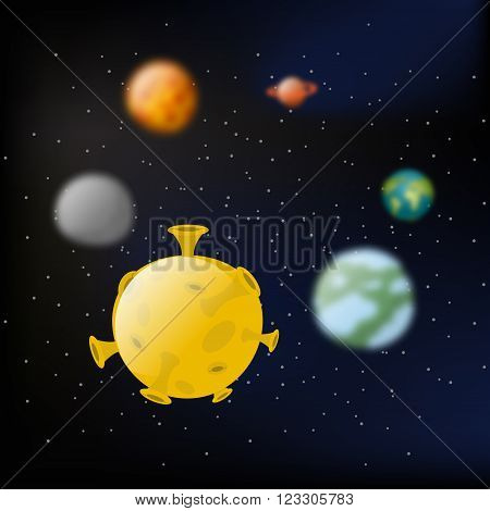Planets Of  Solar System.  Moon And Jupiter. Mars And Earth.  Milky Way. Black Slanting And Stars