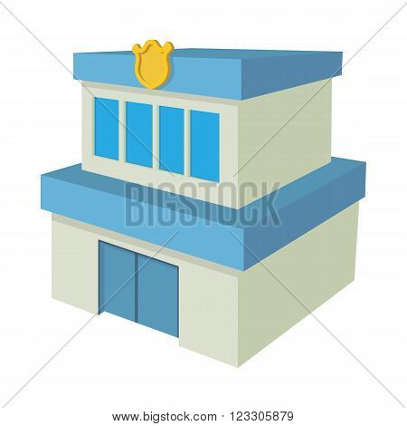 Police department building icon in cartoon style on a white background