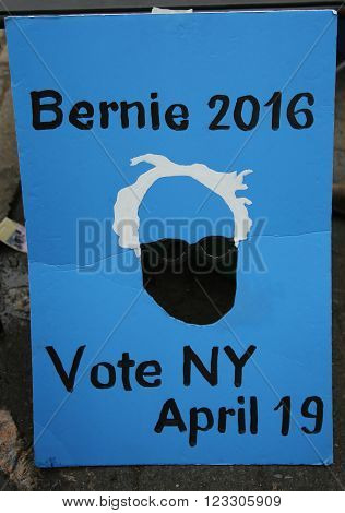 NEW YORK - MARCH 17, 2016: Sign to supprt presidential candidate Bernie Sanders during primaries in New York. The US presidential election of 2016, scheduled for Tuesday, November 8, 2016
