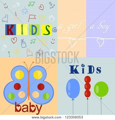 five different color baby logos and backgrounds