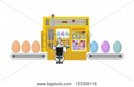 Happy Easter. Apparatus For Production Of Easter Eggs. Chicken Egg Easter Egg Color Is Processed. Te