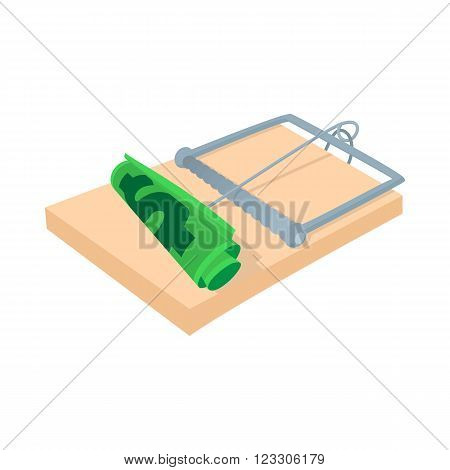 Money in a mousetrap icon in cartoon style on a white background