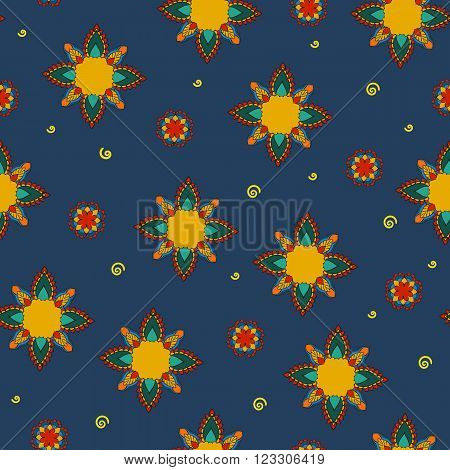 Ornament colored seamless pattern with mandala. Geometric circle element made in . beautiful floral and Paisley traditional ornament seamles pattern with flowers on blue