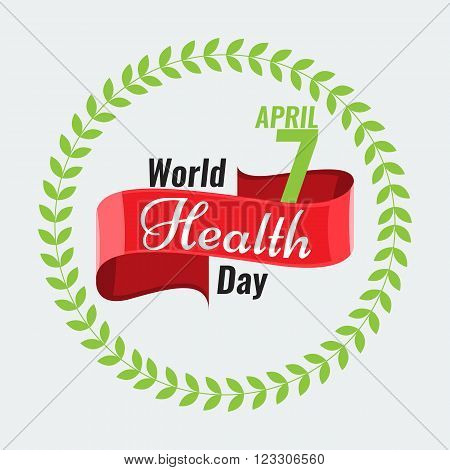 Creative sign or logo for 7 April - World Health Day Greeting stock vector. Red ribbon banner. Solid flat color design for Health Day concept