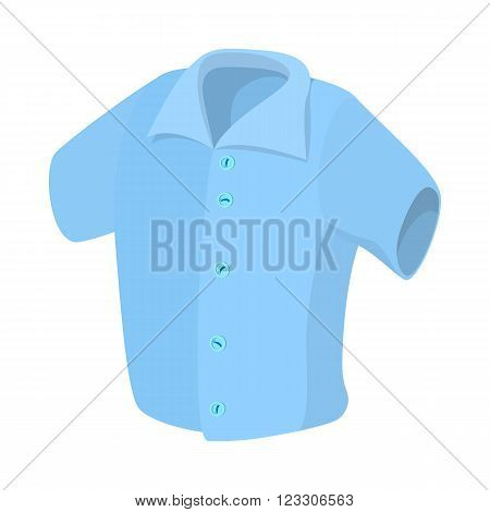 Short sleeved men shirt icon in cartoon style isolated on white background