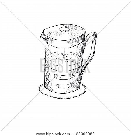 Engraving illustration of French press pot for making coffee isolated on white background