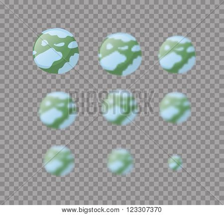 Pluto. Planet Pluto Isolated. Set Planet Pluto With Varying Degrees Of Blur. Blur Effect  Pluton. As