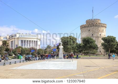 THESSALONIKI GREECE -- March 17.2016: Medieval White Tower and the city theater. Sights of city