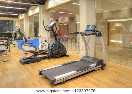 THESSALONIKI GREECE - March 14.2016: Specially equipped room in a hotel for sports