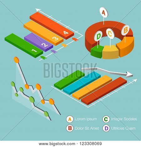 Flat 3d isometric infographic. Isometric vector 3D analysis data pie chart flat design. Set of colorful isometric graphs and charts diagram marketing circle statistic report data.