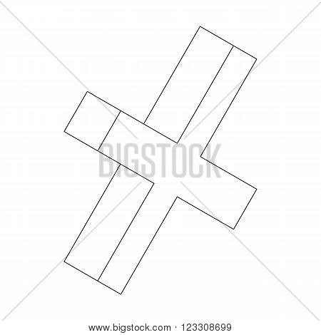 Cross mark icon in isometric 3d style isolated on white background