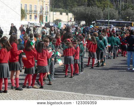 LISBON, PORTUGAL - MARCH 17TH. School children celebrating Saint Patrics Day. Lisbon Portugal March 17th 2016