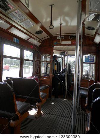 LISBON, PORTUGAL - MARCH 17TH. Driver under instruction on antique Lisbon Tram.  Lisbon Portugal March 17th 2016