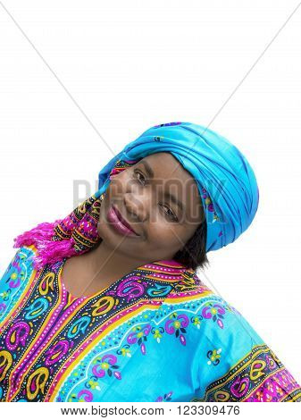 Afro woman wearing a traditional dress, isolated