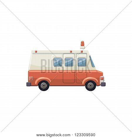 Ambulance car icon in cartoon style on a white background