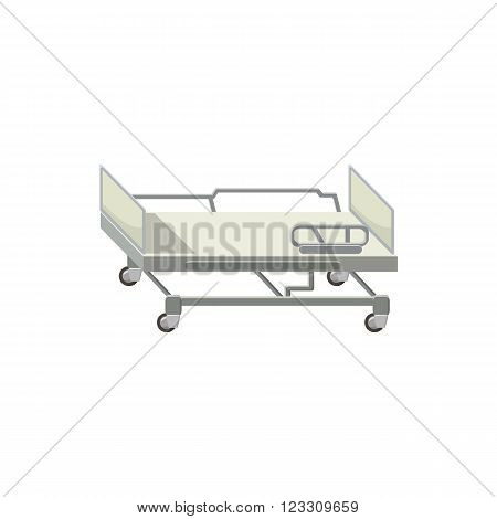 Mobile medical bed icon in cartoon style on a white background
