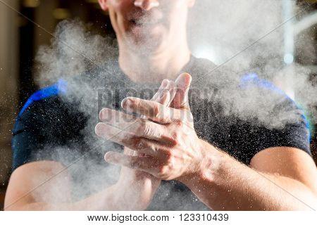 Male Hands Smeared Talcum Powder Close Up