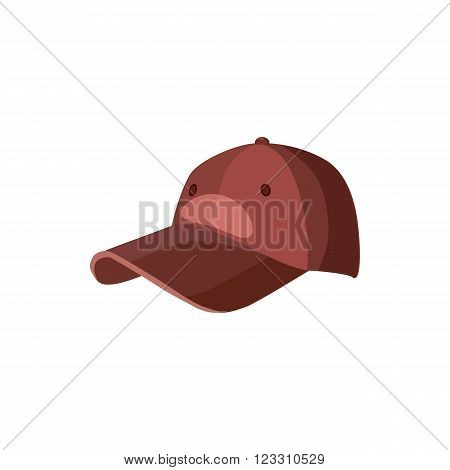 Red baseball hat icon in cartoon style on a white background