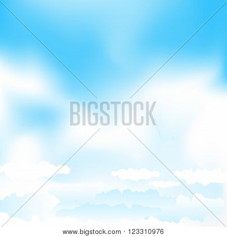 Cartoon cloudy background on blue mesh sky. Simple gradient clouds and place for text on sky background