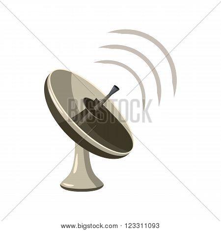Radar icon  in cartoon style isolated on white background. Satellite dish tv technology icon