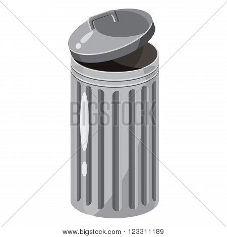 Trash bin icon in cartoon style on a white background