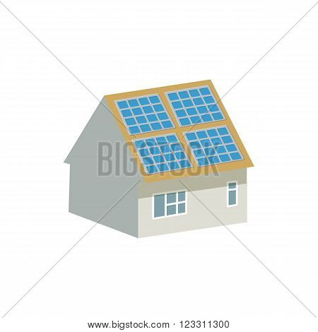 House with solar batteries on the roof icon in cartoon style on a white background