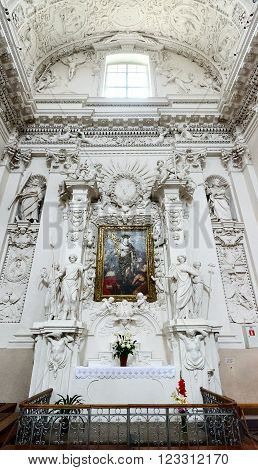 VILNIUS LITHUANIA - JULY 10 2015: The interior of Catholic church of the Holy Apostles Peter and Paul (the altar of