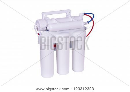 Reverse Osmosis 5 Stages Under Sink Water Filter isolated on white.