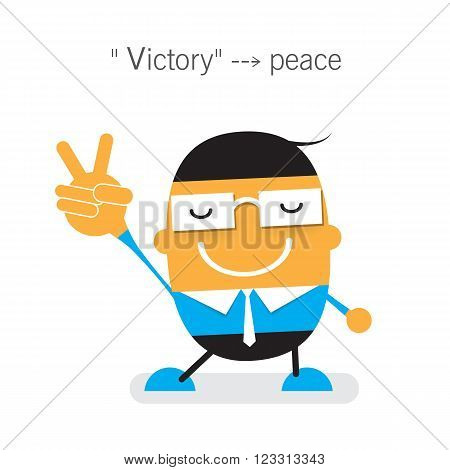 Vector cute cartoon young Businessman showing two fingers up hand gesture V sign in meaning victory or peace. Flat design