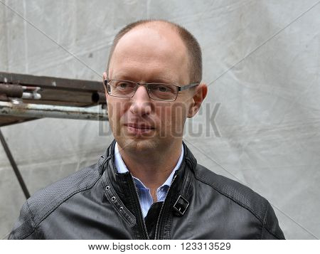 CHORTKIV - TERNOPIL REG. - UKRAINE - October 23 2012. Today Prime Minister of Ukraine Arseniy Yatsenyuk during the election campaign to the Parliament of Ukraine was in Chortkiv and spoke at the rally.