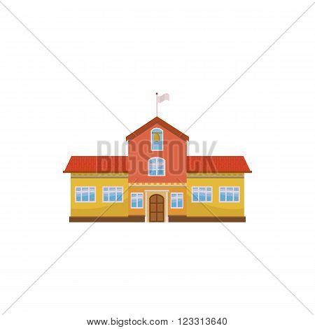 School building icon in cartoon style on a white background