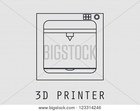 3D Printer Icon From The Geometric Lines. Vector.