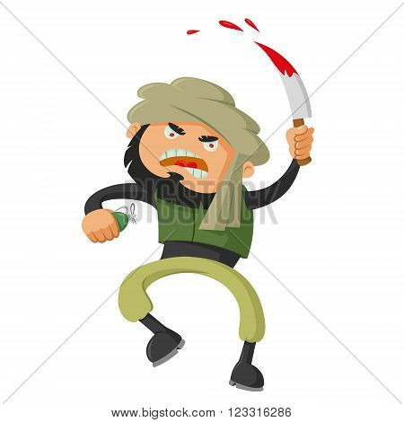 terrorist with a bloody knife vector illustration