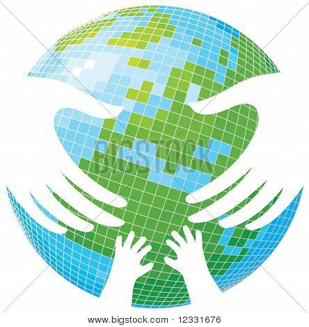 Earth. Hands Of Parents And Children.