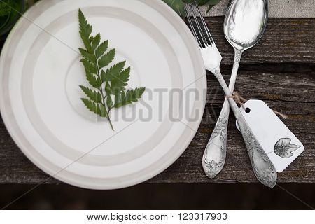 Top view of white plate with green leave and silver spoon and fork with blank label on wooden table ** Note: Soft Focus at 100%, best at smaller sizes
