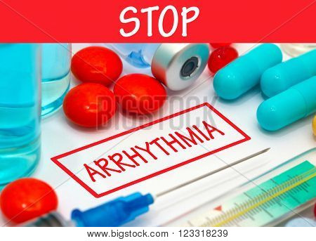 Stop arrhythmia. Vaccine to treat disease. Syringe and vaccine with drugs.