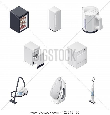 Household appliances detailed isometric icons set part 3 vector graphic illustration