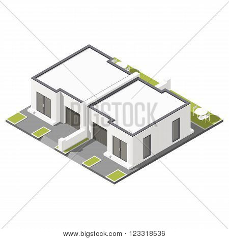 One storey connected cottage with flat roof for two families isometric icon set vector grpahic illustration