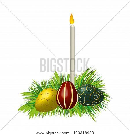 Three easter eggs, decorated with ornaments, and candle on grass isolated on white background, vector illustration