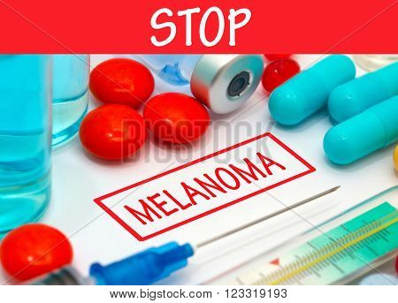 Stop melanoma. Vaccine to treat disease. Syringe and vaccine with drugs.