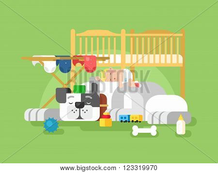 Dog and baby sleep. Cute animal pet, adorable small sleeping child, infant sleep, vector illustration