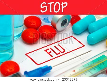 Stop flu. Vaccine to treat disease. Syringe and vaccine with drugs.