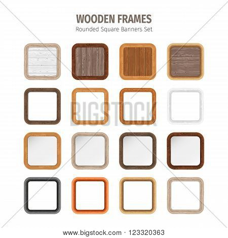 Wooden frames rounded square banners collection. Used pattern brushes included in Brushes panel. Used patterns included in Swatches pannel. Clipping paths included.