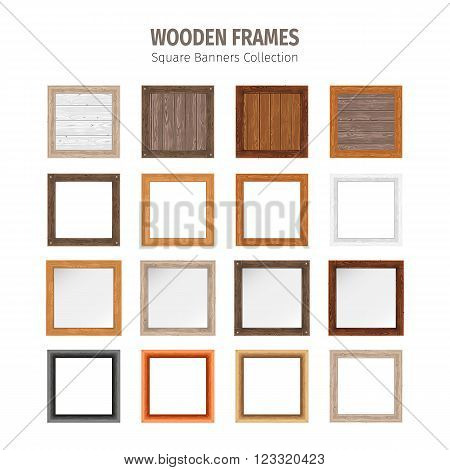 Wooden frames square banners collection. Used pattern brushes included in Brushes panel. Used patterns included in Swatches pannel. Clipping paths included.