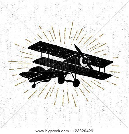Hand drawn vintage icon with biplane vector illustration.