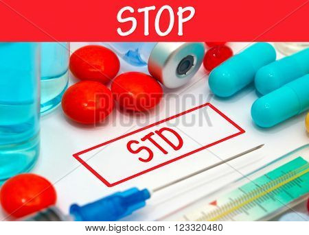 Stop std. Vaccine to treat disease. Syringe and vaccine with drugs.