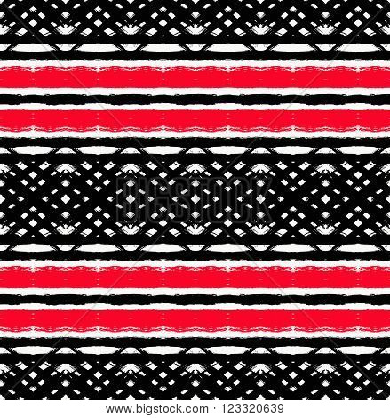 Vector Painted Pattern. Textured geometric background. Abstract seamless pattern from brush strokes. White, black and red colors. Intricate unusual design.