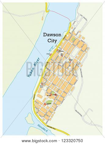 city ??map of dawson city yukon territory, canada